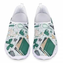 Zapatos para caminar ligeros y transpirables de malla con estampado elegante para mujer