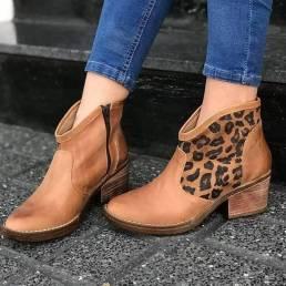 Empalme casual Leopardo Cremallera lateral Tacón grueso Tobillo de vaquero Botas para Mujer
