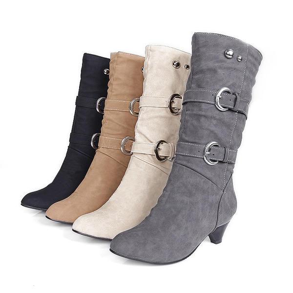Tamaño de EE. UU. 5-12 Mujer Mid-Calf Botas Slip On Casual Suede Soft Botas