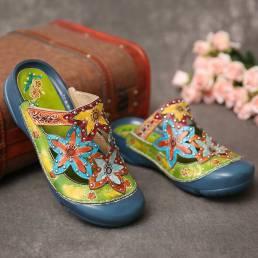 SOCOFY Zuecos hechos a mano con tachuelas florales con tachuelas y tachuelas planas Sandalias