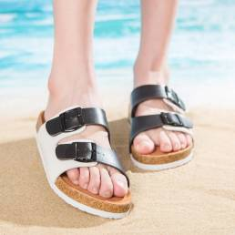 Mujer Casual Playa Punta abierta con hebilla de doble correa Soft Corcho Sandalias