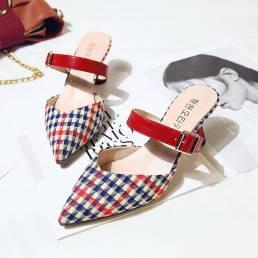 Mujeres Retro Elegante Lattice Patrón Zapatos de tacón cónico sin espalda con punta en punta