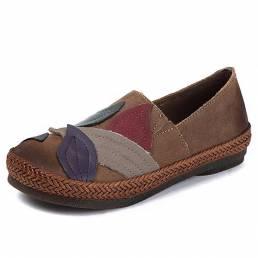 SOCOFY Piel Genuina Zapato Casual Retro Soft Mocasines planos de punto único