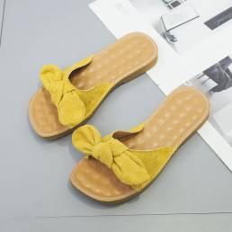 Mujeres Butteryfly Knot Soft Bottom Flats Chic Slide Sandalias