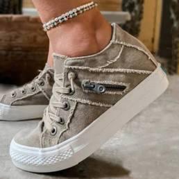 Más el tamaño Mujer Retro Zipper Decor Canvas Lace Up Flat Casual Shoes
