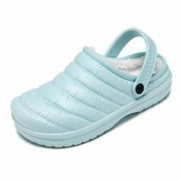 Mujer Sólido Punta cerrada Cálido Forrado de felpa Impermeable Interior zapatillas