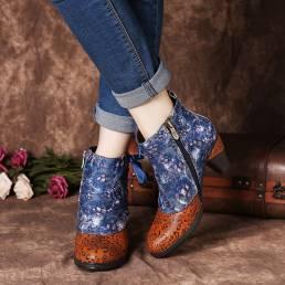 SOCOFY Elegante Empalme Estampado floral Cordón Deco Apilado Tacón alto Forrado cálido Cremallera Tobillo Botas