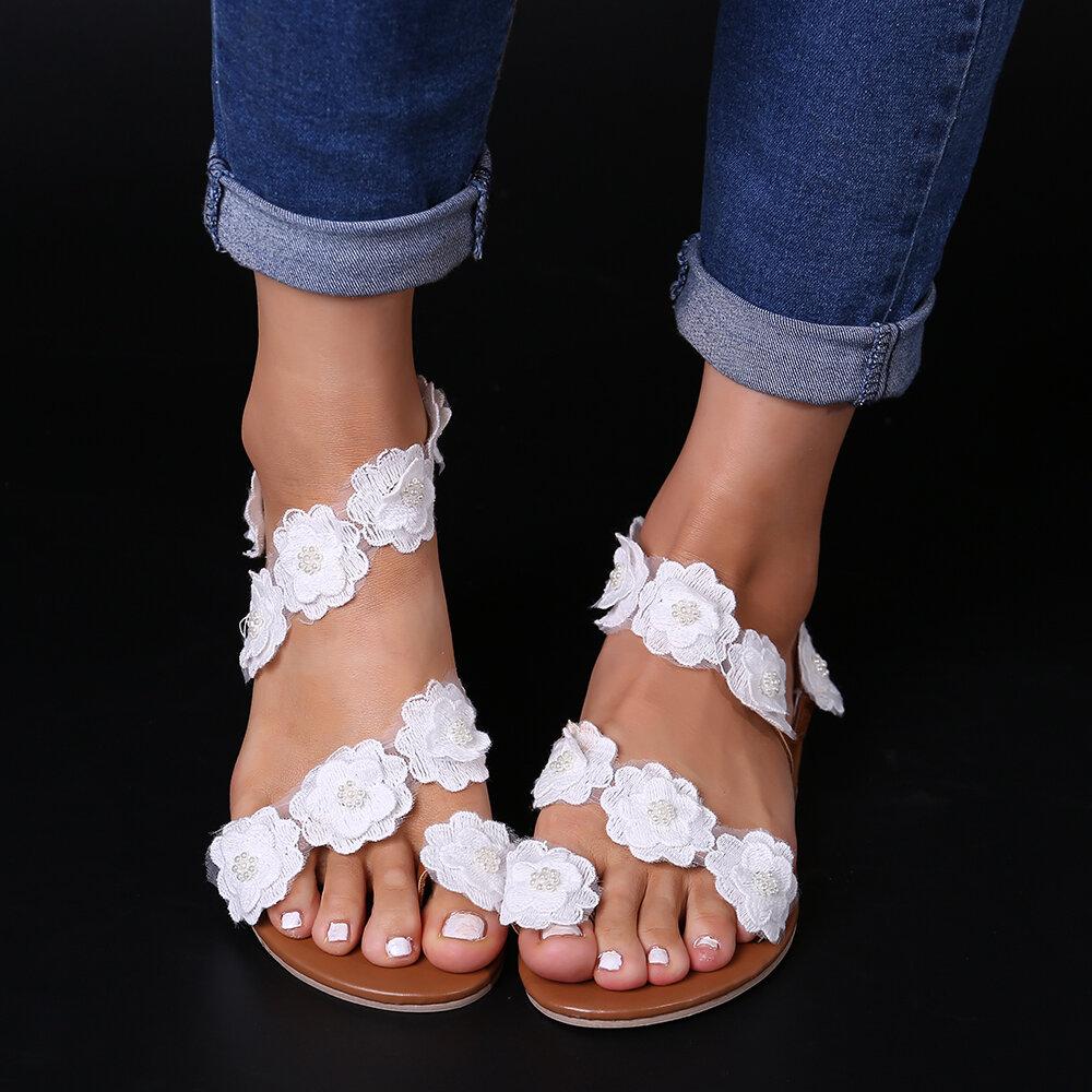 Mujeres Plus Talla Decoración de flores Slip On Clip Toe Verano Playa Sandalias