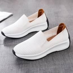 Zapatillas de deporte de gran tamaño transpirables de malla de tela para mujer