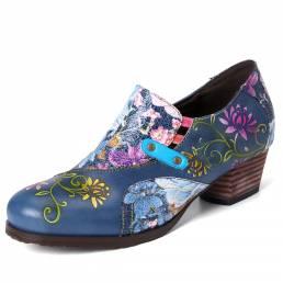 SOCOFY Retro Flores en relieve Piel Genuina Zapatos de tacón corto con cremallera