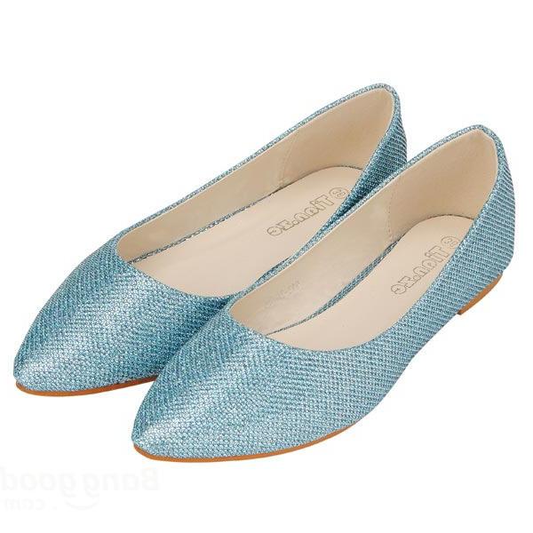 Zapatos planos con purpurina en punta de color puro