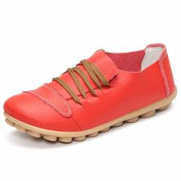 Cordones de gran tamaño Soft Zapatos planos de cuero con punta redonda Mocasines cómodos