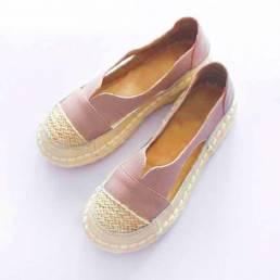 Tallas grandes Mujer Mocasines Punta redonda Casual Costuras huecas Zapatos planos sin cordones