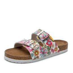 Mujer Playa Estampado Soft Corcho plano con doble tira zapatillas Sandalss