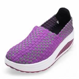 Zapatillas de deporte de punto transpirables informales elásticas para mujer