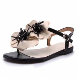 Hebilla Pimientos Flores Flip Flop Flat Sandalias Mujer Zapatillas individuales