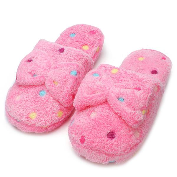Dot Mujer Winter Bowknot Slipper Ladies Cotton Interior zapatillas