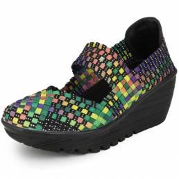 Elástico Cinturón Zapatos Swing Tejidos Mujer Sport Sandalias Zapatos