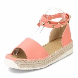 Tamaño de EE. UU. 5-12 Mujer Remache de verano Con tiras Hebilla Dulce plana Peep Toe Roman Sandalias Zapatos