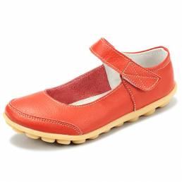 Tamaño grande Mujer Soft Cuero Zapatos planos cómodos transpirables Hebilla Pisos con punta redonda