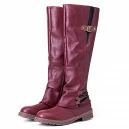 Botas de montar a media pierna con diseño de hebilla de metal para mujer