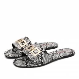 LOSTISY Mujer Metal Hebilla Decoración Casual Slide Sandalias