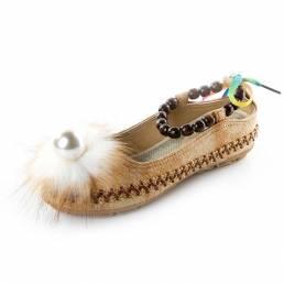 FolkwaysStylePearlDecorcorreapara el tobillo plano Sandalias zapatos