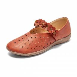 LOSTISY Retro Flower Leather Hollow Out Slip On Soft Zapatos planos cómodos