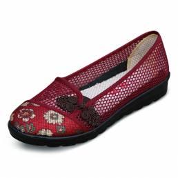 Tamaño de EE. UU. 5-11 Mujer Zapatos elegantes de ocio de verano Zapatos planos transpirables de malla con absorción de