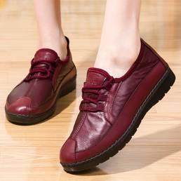 Zapatos casuales de punta redonda de color sólido para mujer Soft cómodos mocasines planos con cordones