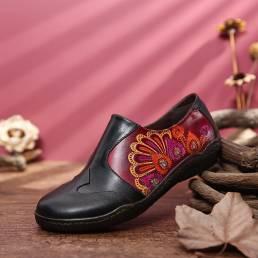 SOCOFY Retro Splicing Flower Patrón Comfy Piel Genuina Zapatos planos informales con cremallera lateral