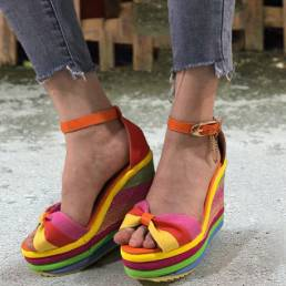 Mujer Rainbow Colorful Correa de tobillo Lazo de hebilla de nudo de plataforma Sandalias