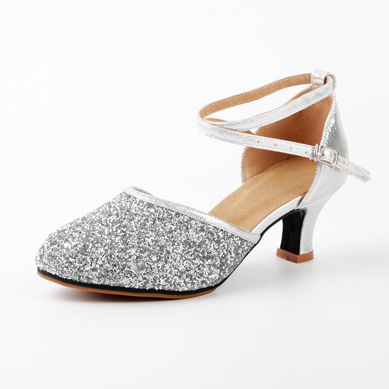 Zapatos de baile de tacón de fiesta latino con lentejuelas para mujer Vestido Sandalias