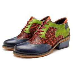 SOCOFY Costura hecha a mano con cordones Piel Genuina zapatos de los planos