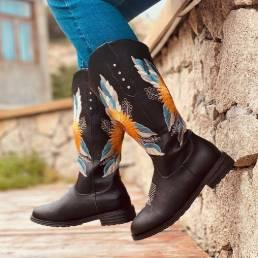 Tamaño grande Mujer Girasol bordado Soft Cómodo vaquero de tacón cuadrado Botas