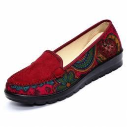 Tamaño grande Mujer Mocasines planos casuales Zapatos transpirables sin cordones Soft Zapatos con suela