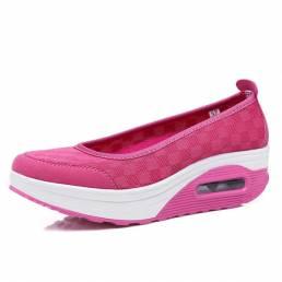 Zapatillas de malla con suela de balancín Salud zapatos Slip On al aire libre Zapatillas deportivas