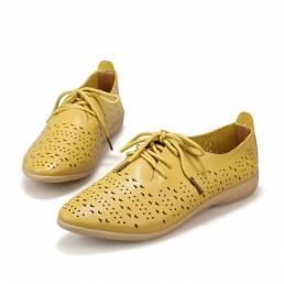 Zapatos casuales ahuecados para mujer Cuero Soft Mocasines planos con cordones cómodos