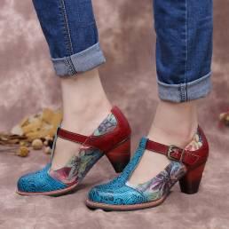 SOCOFY Retro Piel Genuina Zapatos de tacón grueso con correa en T de hojas en relieve de flores