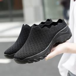 Zapatos sin espalda de plataforma de color sólido de malla para mujer