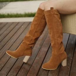 Las mujeres se deslizan en color sólido simple elegante casual hasta la rodilla Botas