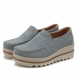 Zapatos casuales de plataforma transpirable de gamuza para mujer