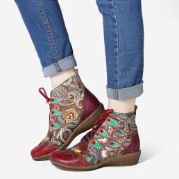 SOCOFY Folkways Patrón Rojo Piel Genuina Soft Tobillo plano Botas para mujer