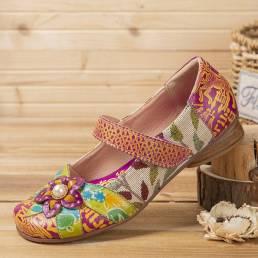 SOCOFY Retro Flor Decoración Impreso Piel de vaca Tela de costura Cómoda punta redonda Zapatos planos casuales
