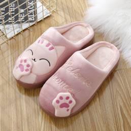 Tamaño grande Mujer Lindo Gato Decoración Casa destalonada cálida zapatillas