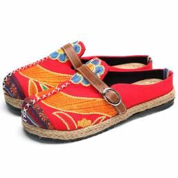 SOCOFY Suave suave bordado colorido folkways zapatos planos backless