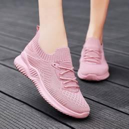 Zapatillas deportivas informales con calcetín para correr de malla para mujer