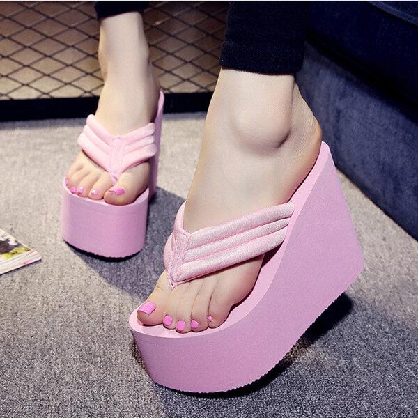 Mujeres Sexy Tacones altos Chanclas zapatillas Plataforma de cuña Playa Zapatos