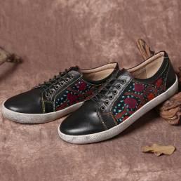 SOCOFY Zapatillas planas con cordones de cuero retro con costuras recortadas florales