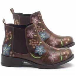 Tobillo Chelsea cómodo para vestir con bordado floral retro para mujer Botas